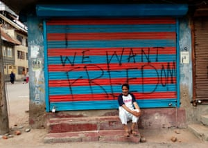 Soura, IndiaGraffiti on a shuttered store in the Soura locality in Srinagar, during a lockdown imposed by Indian authorities after stripping Kashmir of its autonomy
