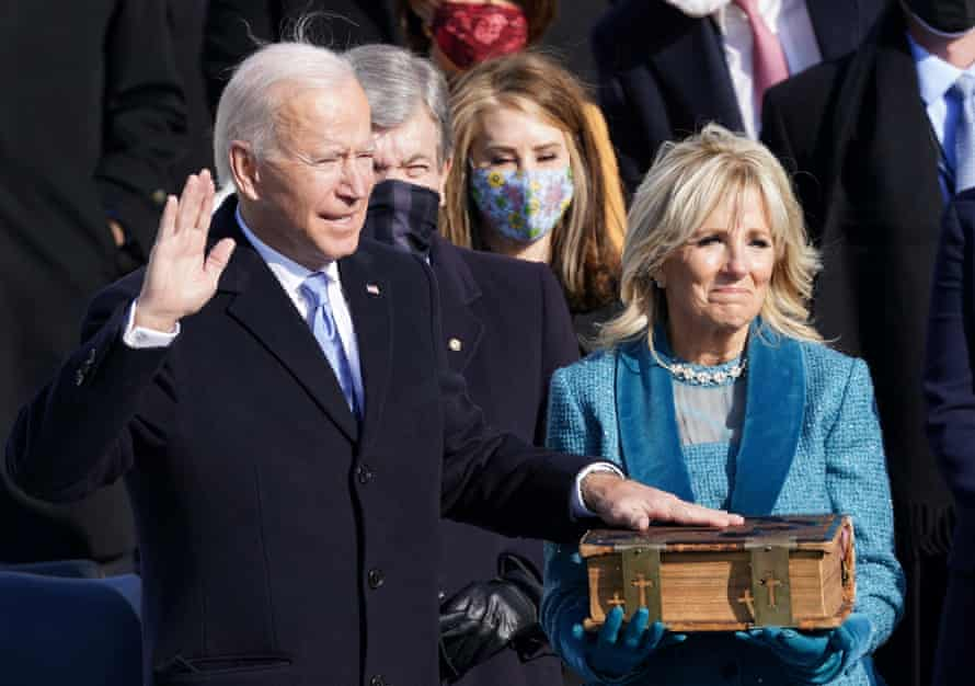 Joe Biden, the new president of the United States, with his wife Jill Biden at his swearing-in. At 78, Biden is the oldest president ever to take the oath of office.