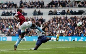 West Ham's Michail Antonio smashes the ball home.
