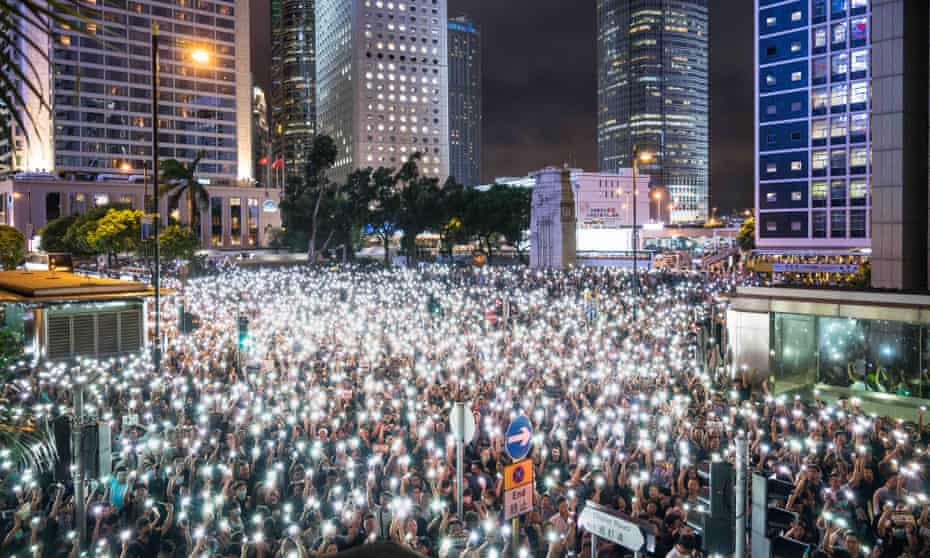 Mass protests against a new extradition bill in Hong Kong in August 2019.