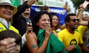 Brazil elections 2018: supporters react near the house of Jair Bolsonaro, who is leading the polls the presidential election.