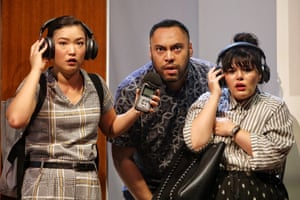 Michelle Lim Davidson, Anthony Taufa and Nakkiah Lui in Sydney Theatre Company's recent production of How to Rule the World.