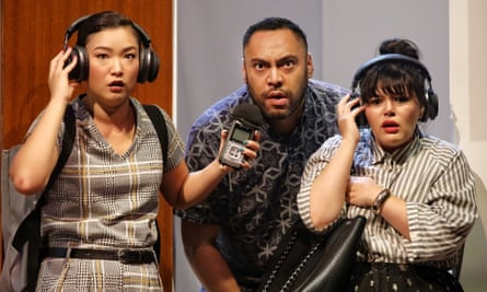 Michelle Lim Davidson, Anthony Taufa and Nakkiah Lui in Sydney Theatre Company's production of Lui's How to Rule the World.