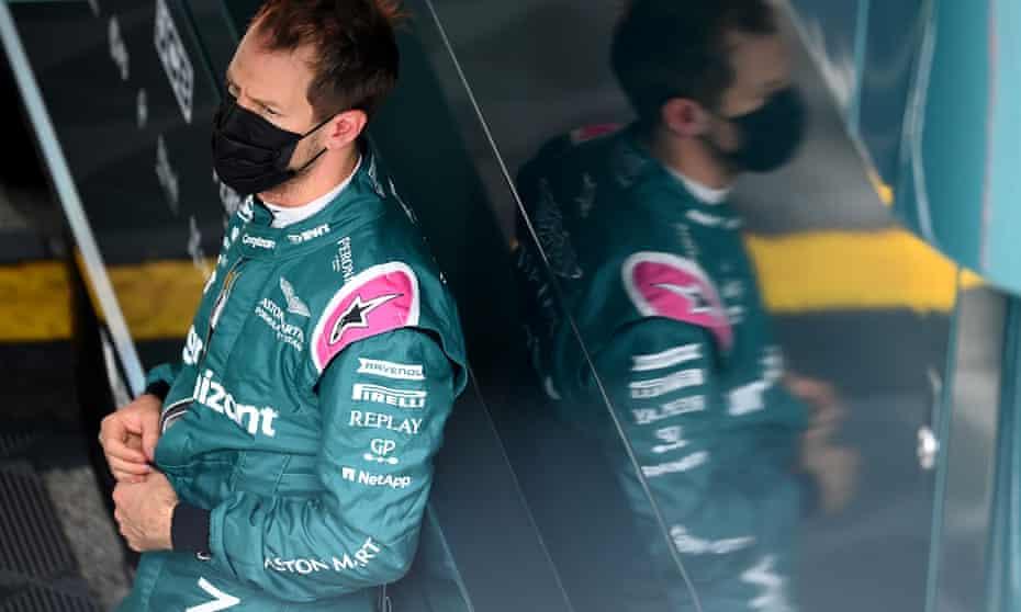 Sebastian Vettel in the Aston Martin paddock at Imola.