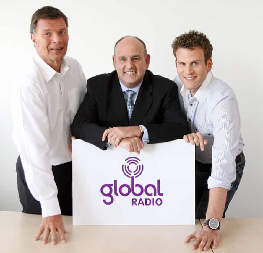 Ashley Tabor, right, with Charles Allen and Richard Park of Global Radio in 2007.