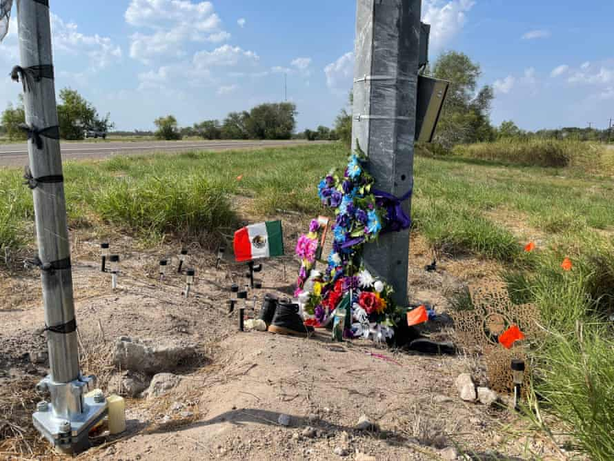 Makeshift memorial on a stretch of the highway 281 deep in south Texas.