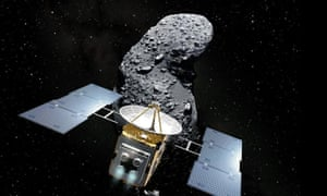 An artist's impression of Japan's Hayabusa spacecraft approaching the Itokawa asteroid in 2010.