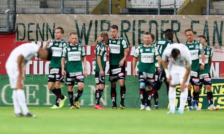 SV Guntamatic Ried celebrate one of the nine goals they scored against Floridsdorfer to earn promotion on goal difference ahead of Klagenfurt.