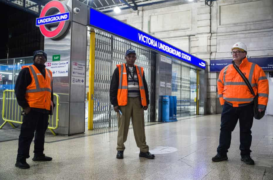Patrick Karlo, line supervisor, Michael Tiamiyu, manager for the Victoria line cleaning and Chris Shadbolt team inspector