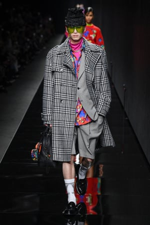 Man on the catwalk for Versace