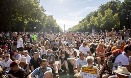 Protestors in Berlin on Saturday.
