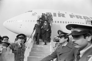 Ayatollah Khomeini arrives in Iran in February 1979 after 15 years of exile