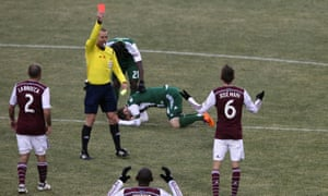 Jose Mari of Colorado Rapids receives his second yellow card from referee Mark Geiger against the Portland Timbers.