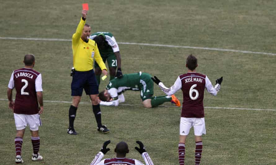 Jose Mari of Colorado Rapids receives his second yellow card and resulting red card from Mark Geiger.