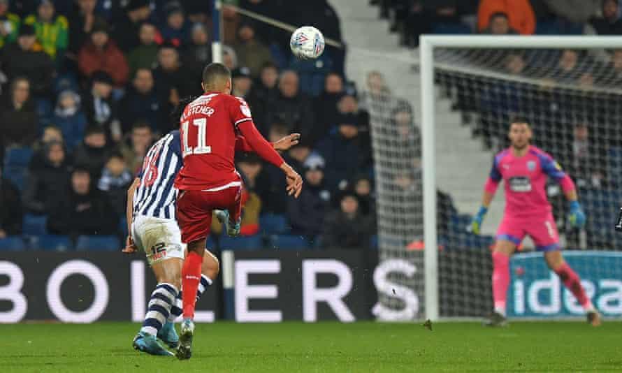 Middlesbrough's Ashley Fletcher unleashes his long-range strike against West Brom.