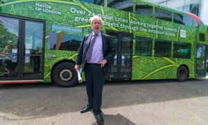 Boris Johnson outside the Clean Bus summit at City Hall in central London