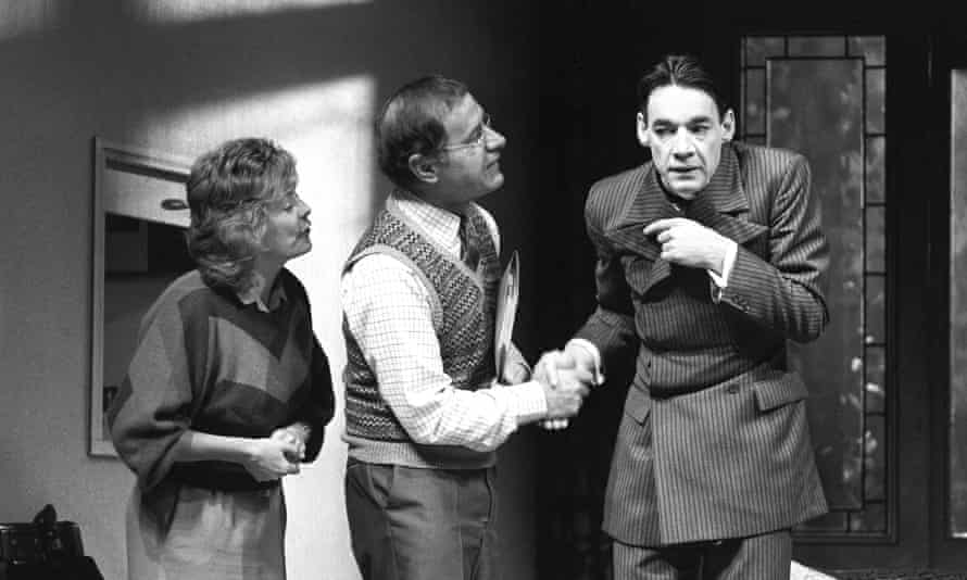 Geoffrey Palmer, centre, in rehearsals for Alan Bennett's play Kafka's Dick at the Royal Court, with Alison Steadman and Roger Lloyd Pack, 1986.