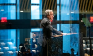 António Guterres addresses the 75th session of the UN general assembly in New York.