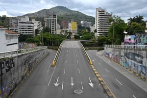 Empty avenue in Cali, Colombia, on April 1.
