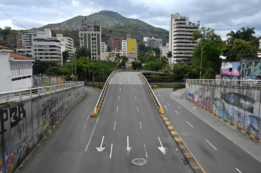 Empty avenue in Cali, Colombia, on April 1.