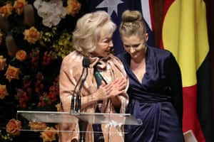 Bob Hawke's granddaughter Sophie Taylor-Price and Blanche d'Apluget address the Hawke memorial service at the Opera House in Sydney this afternoon.