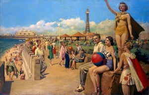 Blackpool, an original oil painting for an LMS Railway poster, by Fortunino Matania.
