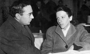 Josette Audin and her lawyer Jules Borker in Paris, before a press conference they gave about the disappearance of her husband, in December 1957.