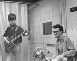 Johnny Marr and Morrissey of the Smiths in a bathroom before going onstage in Belgium in 1984