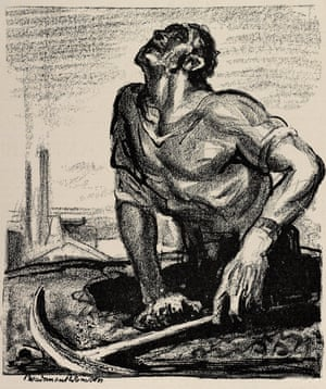 A sketch by Boardman Robinson of the New York Tribune depicting a miner emerging out of the earth.
