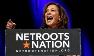 Kamala Harris speaks at the Netroots Nation annual conference for political progressives in New Orleans.
