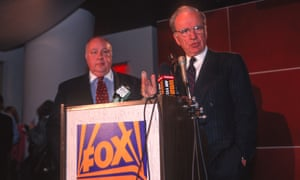 Roger Ailes with Rupert Murdoch at the launch of Fox News in January 1996. Ailes would go on to become one of the key members of the Murdoch television business.