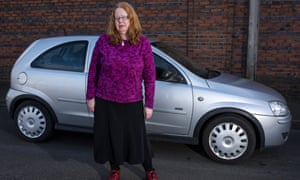 Laura Marcus and her car, in Leek, Staffs