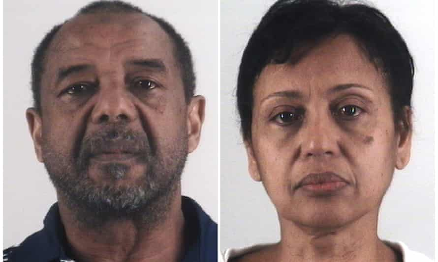 This combination of photos provided by the Tarrant county sheriff's department in Texas shows Mohamed Toure, left, and Denise Cros-Toure, a Fort Worth couple convicted of enslaving a Guinean woman for 16 years
