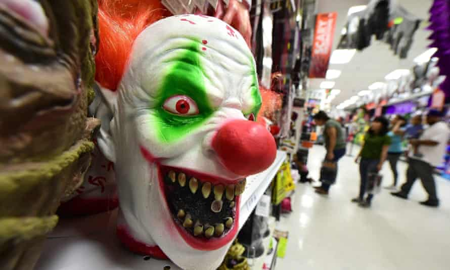 Clown masks are displayed and for sale at a shop in Alhambra, California on 21 October 2016.