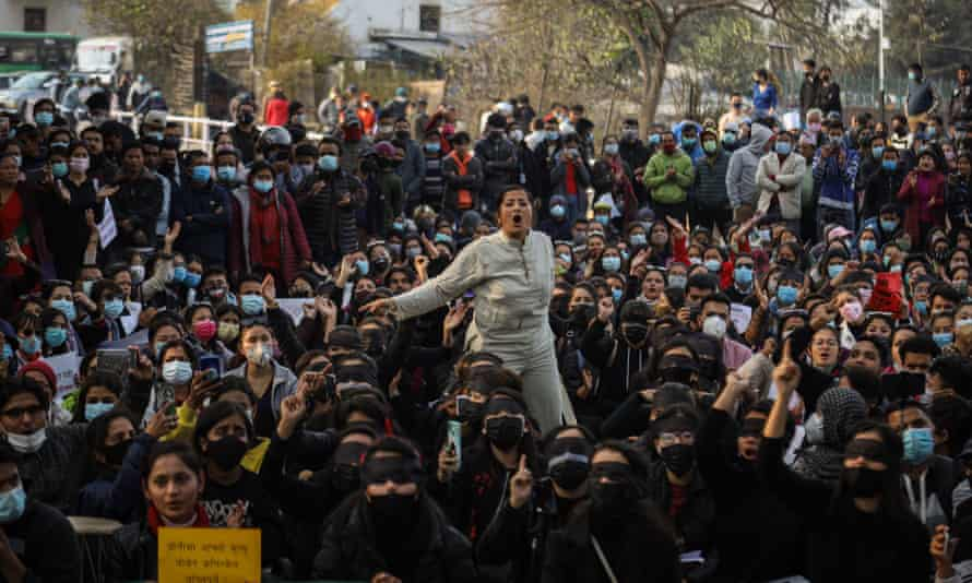 Protesters march for women's rights in Kathmandu, Nepal, on 12 February.