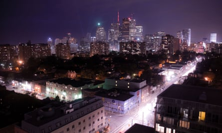 A view of the Toronto city skyline by night, as seen from the Regent Park neighbourhood.