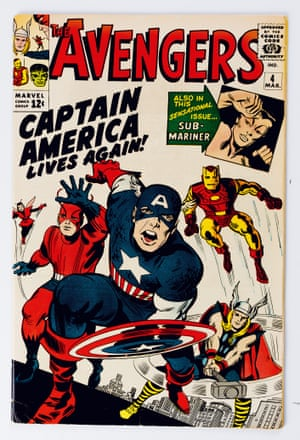 The Avengers No. 4. Opposite) Cover; pencils, Jack Kirby; inks, George Roussos; March 1963.
