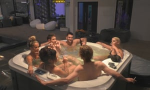 The Big Brother Germany housemates in the hot tub