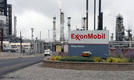 ExxonMobil sign outside the Billings refinery in the US