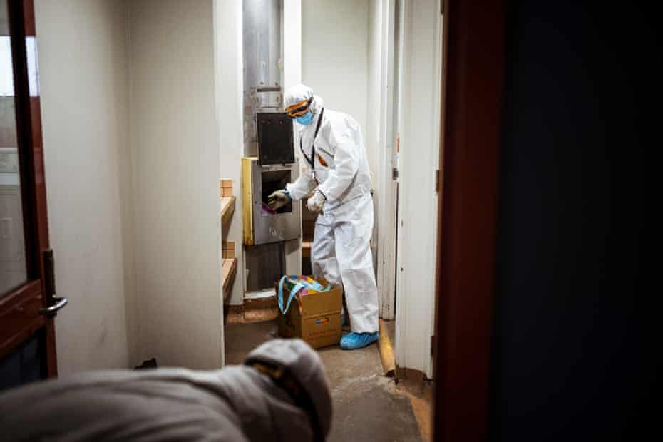 Government cleaners are tasked with deep cleaning the Canning Street flats in North Melbourne.