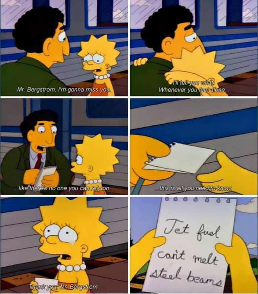 'Jet fuel can't melt steel beams' photoshopped to appear as a joke in The Simpsons.