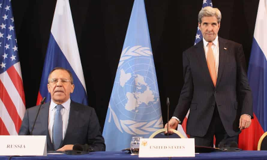 Russian Foreign Minister Sergey Lavrov and US Secretary of State John Kerry arrive for a press conference following a meeting of the International Syrian Support Group (ISSG) in Munich, Germany.