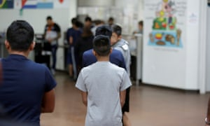 Occupants at Casa Padre, an immigrant shelter for unaccompanied boys aged 10 to 17, in Brownsville, Texas, are seen in this photo provided by the US Department of Health and Human Services, on Friday.
