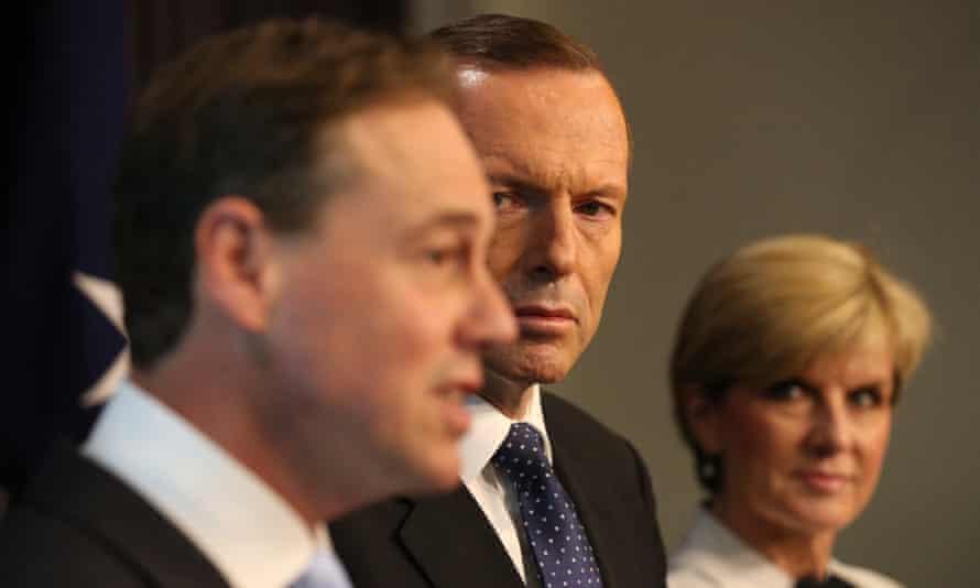 Environment minister Greg Hunt, Tony Abbott and Julie Bishop.