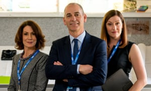 Kitty Flanagan, Rob Sitch and Celia Pacquola in a scene from ABC comedy series Utopia. Insiders say ABC management meetings are showing an eerie similarity.