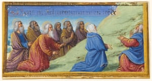 Border miniature from a Book of Hours, Ascension (c. 1490-1500) Jean Poyer (French, doc. 1483-d. c.1503) Tours, France