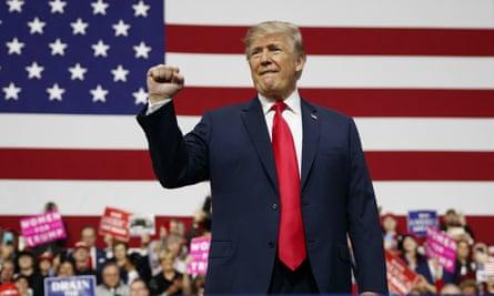 Donald Trump arrives to speak in Moon Township, Pennsylvania on Saturday.