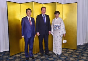 Shinzō Abe, David Cameron and Akie Abe attend a cocktail event during the G7 summit at the Shima Kanko Hotel