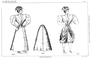 Alice Bygrave's 1895 patented convertible pulley cycling skirt.