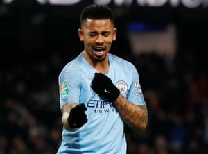 Manchester City's Gabriel Jesus celebrates scoring their fifth goal to complete his hat-trick.